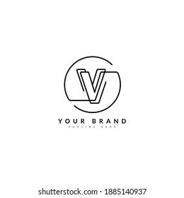 V initial minimalist line logo. VV monogram letter for company and business logo.