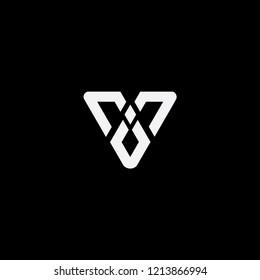 v initial triangle logo templet