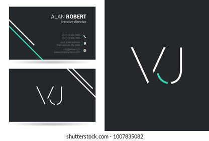 V & J joint logo stroke letter design with business card template