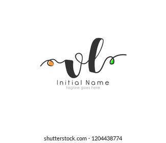 V L VL Initial handwriting logo vector template