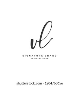 V L VL Initial letter handwriting and  signature logo concept design