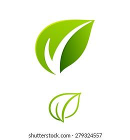 V letter or check mark, verification Eco logo, design template elements