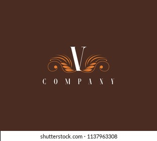 V Letter Floral Elegant Graceful Ornament Logo