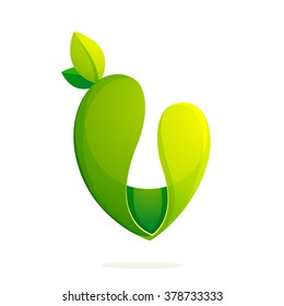 V letter with green leaves logo, volume icon. Font style, vector design template elements for your ecology application or corporate identity.