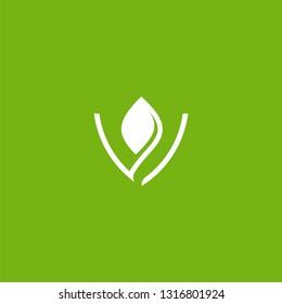 V letter initial logo leaf vector icon