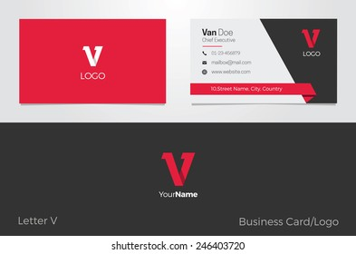 V Letter Logo Business card