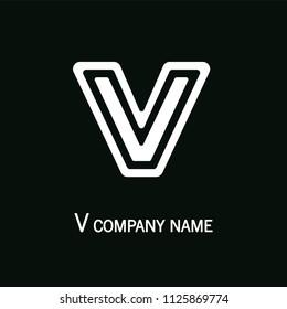 V letter logo design, isolated on black background for business visual identity. Vector template eps 10