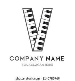 V Letter Logo Design Piano keyboard logo. Music icon design template. vector illustration.