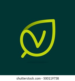 V letter logo in green leaf. Line style icon. Vector ecology elements for posters, t-shirts and cards.