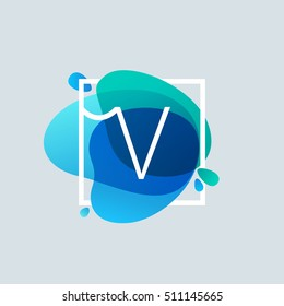 V letter logo in square frame at blue watercolor splash background. Vector ecology typography for your posters, invitations, cards.