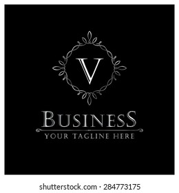 V letter Luxury Logo template flourishes calligraphic elegant ornament lines. Business sign, identity for Restaurant, Royalty, Cafe, Hotel, Heraldic, Jewelry, Fashion and other vector illustration