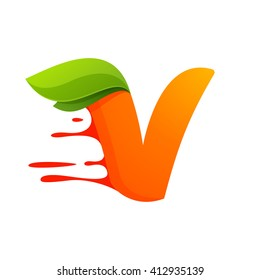 V letter with orange juice drops and leaves. Vector design template elements for your application or corporate identity.