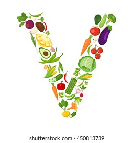 V letter from vegetables.