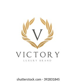 V letter Victory Luxury Brand Logo Template