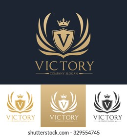 V letter Victory Luxury Crest logo template