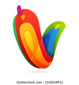 V letter volume colorful logo with splash. Multicolor vector design template elements for your application or corporate identity.