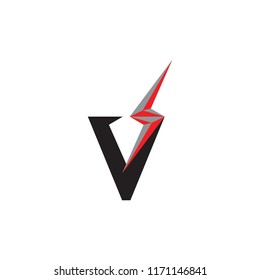 V logo letter with flash