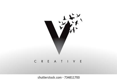 V Logo Letter with Flying Flock of Birds Disintegrating from the Letter. Bird Fly Letter Icon.
