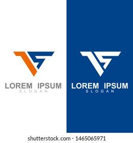 V logo, Letter vs logo with simple design template