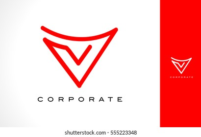 V Logo Monogram. Letter V Simple Clean Line Monogram Design.