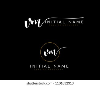 V M Initial handwriting logo vector. Hand lettering for designs.