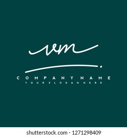 V M Initial handwriting logo vector