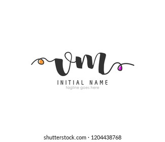 V M VM Initial handwriting logo vector template