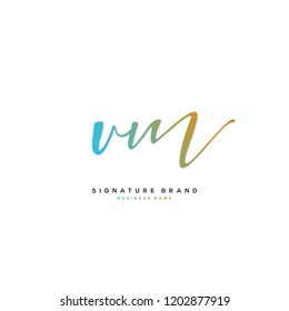 V M VM Initial letter handwriting and  signature logo concept design