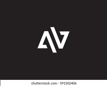 A & V Minimal Letter Logo concept. Premium Line Alphabet Monochrome Monogram emblem. Graphic Symbol for Corporate Business Identity. Vector graphic design template element