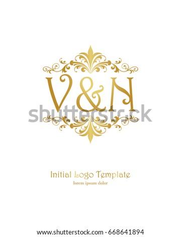 v n initial wedding logo template stock vector royalty free
