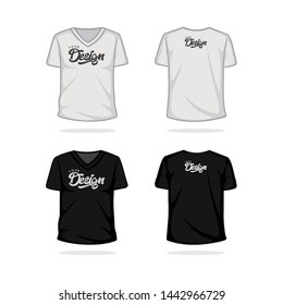 V neck black and white t shirt mock up template vector illustration
