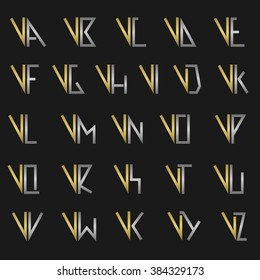 V and other alphabet letters monogram logo