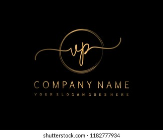 V P Initial handwriting logo vector