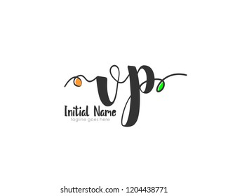 V P VP Initial handwriting logo vector template