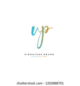 V P VP Initial letter handwriting and  signature logo concept design
