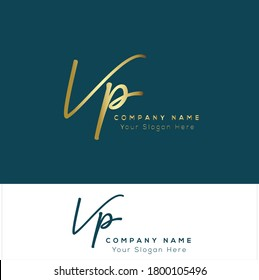 V P VP Initial letter handwriting and signature logo. Beauty vector initial logo .Fashion, boutique, floral and botanical
