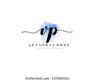 V P VP Initial watercolor logo on white background. Logo template vector