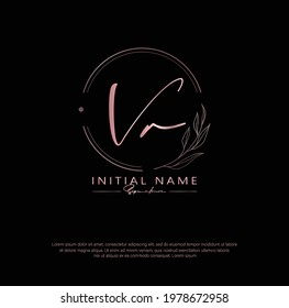 V R VR Initial letter handwriting and signature logo. Beauty vector initial logo .Fashion, boutique, floral and botanical