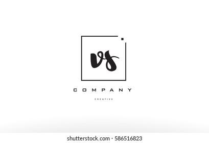 v s vs hand writing written black white alphabet company letter logo square background small lowercase design creative vector icon template
