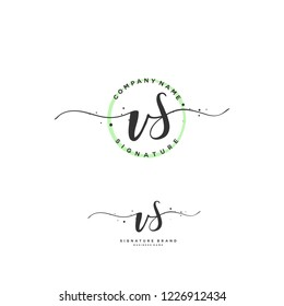 V S VS Initial letter handwriting and  signature logo.