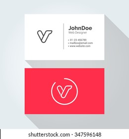 V Simple Letter Minimal alphabet linear logo. Business card template. Vector logo Element