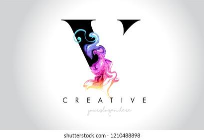 V Vibrant Creative Letter Logo Design with Colorful Smoke Ink Flowing Vector Illustration.