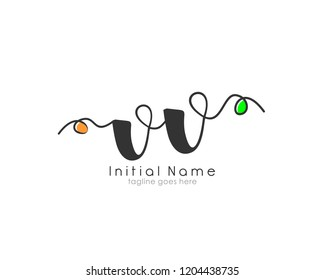 V V VV Initial handwriting logo vector template