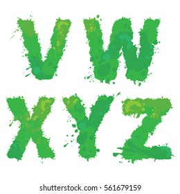 V, W, X, Y, Z, Handdrawn english alphabet - letters are made of green watercolor, ink splatter, paint splash font. Isolated on white background.