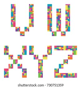 V, w, x, y, z alphabet letters from children building block icon set vector graphic illustration