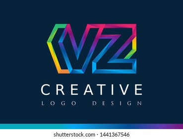 V Z Logo. VZ Letter Design Vector with Magenta blue and green yellow color