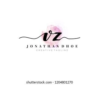 V Z VZ Initial watercolor logo on white background. Logo template vector