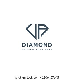 VA Initial Letters Logo Design with Diamond Shape for Jewelry Company Store