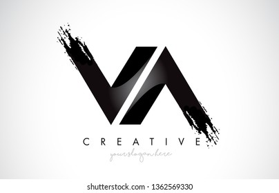 VA Letter Design with Brush Stroke and Modern 3D Look Vector Illustration.