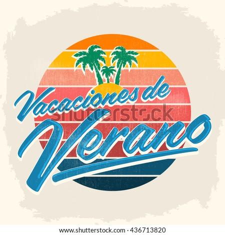 Vacaciones Del Verano Summer Vacations Spanish Stock Vektorgrafik